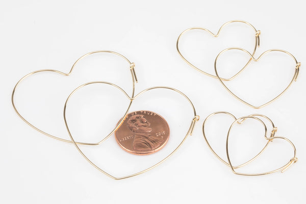 14kt Gold Filled Heart Shaped Beading Hoops - 25mm/30mm/45mm - 21 Gauge Heart Hoop Earwire - Open Heart Wire- Ships out from USA