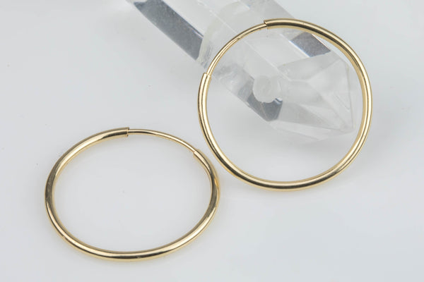 1 Pair, 2 Pcs 12 mm Thin 14K Gold Filled Endless Hoop Earrings  1/20 inch Thickness 1/2 inch diameter