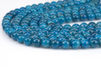 Natural Apatite  Round sizes 4mm, 6mm, 8mm, 10mm, 12mm, 14mm- Full 15.5 Inch strand AAA Quality Smooth Gemstone Beads