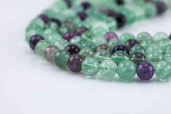 Rainbow Fluorite Beads Smooth Fluoride Grade AAA Smooth Round, 6mm, 8mm, 10mm, 12mm-Full Strand 15.5 inch Strand AAA Quality