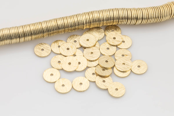 Solid Golden Brass Brushed flat disc beads spacers - Brushed Gold Disk heishi rondelle spacers beads jewelry making 220 pieces per Strand!