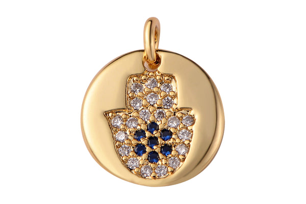 2 pcs 14k Gold Filled Hamsa Hand Charm Diamond CZ 11mm Blue CZ Drop Charm Cubic Protector Pendant Tiny Lucky Dainty Necklace Bracelet- 10mm