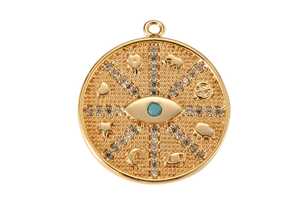 1 pc 18k Gold Filled Coin Evil Eye Charm Diamond CZ Drop Charm Cubic Protector Pendant Tiny Lucky Dainty Necklace - 19mm- 1 pc per order