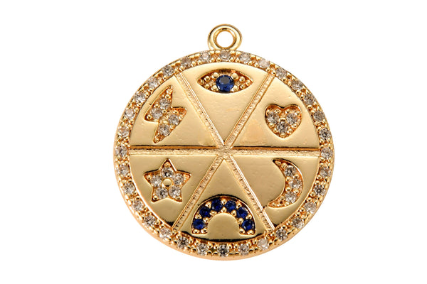 1 pc 18k Gold fill Coin Evil Eye Charm Diamond CZ Drop Charm Cubic Protector Pendant Tiny Lucky Dainty Necklace - 17mm- 1 pc per order