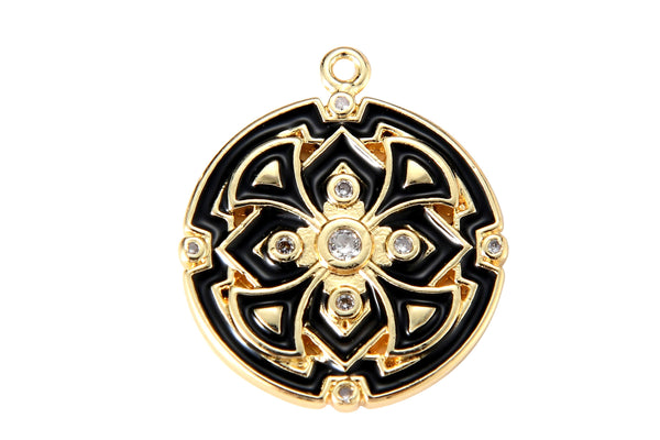 1 pc 18k Gold fill Enamel Intricate Design Charm Diamond CZ Drop Charm Cubic Protector Pendant Tiny Lucky Dainty Necklace - 17mm