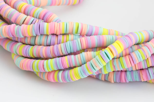 2str BEAUTIFUL Soft AFRICAN Colored VINYL Heishi beads- 6mm or 8mm- 16 inch strand- 2 Strand Per Order- Pale Multi