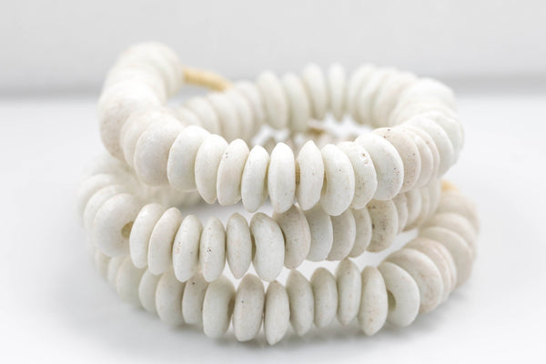 White Ashanti Glass Saucer Beads - Ashanti Glass Beads Handmade Ghanaian Trade Beads - Approx 134 beads 14mm - Made in Ghana Africa
