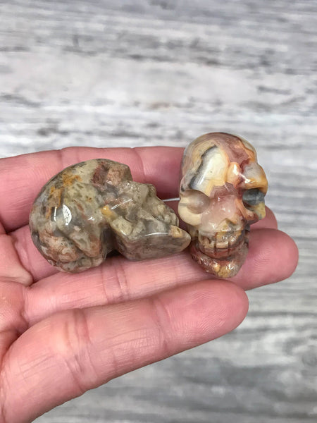 Mexican Crazy Laced Agate Skull Shape-  1.5 inches