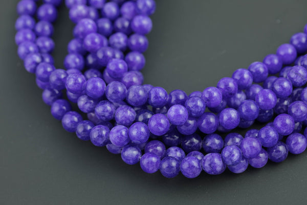 Purple Jade, High Quality in Smooth Round- 6mm, 8mm, 10mm, 12mm   -Full Strand 15.5 inch Strand