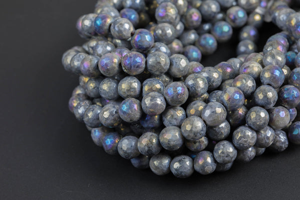 Natural Larvikite Marble Labradorite AB facetted Round 4mm, 6mm, 8mm, 10mm, 12mm, 14mm- Wholesale Bulk or Single Strand! Gemstone Beads
