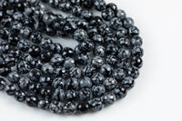 Faceted Snowflake Obsidian High Quality in Faceted Round- 4mm, 6mm, 8mm, 10mm, 12mm- Full 15.5 Inch Strand