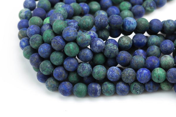 Natural Chrysocolla Beads, High Quality in Matte Round- 6mm, 8mm, 10mm, 12mm, 14mm- Full 16 Inch strand Gemstone Beads