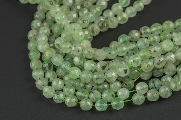 Faceted Prehnite Beads Grade AAA Faceted Round, 8mm, 10mm- Wholesale Pricing- Full 15.5 Inch Strand