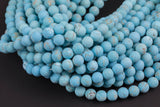 Natural Turquoise Matte Round -Full Strand 15.5 inch Strand, 4mm, 6mm, 8mm, 12mm, or 14mm Beads AAA Quality Gemstone Beads