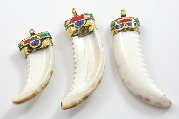 Tibetian Horn in conch shell with Turquiose In Lay