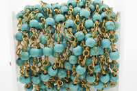 Magnesite Wrapped Beaded - Gold Rosary Style Chain - Chain per foot