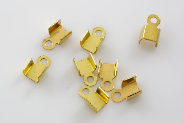 SOLID BRASS Cord Tip, Fold over 4x7mm All Sizes