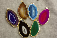 A-QUALITY Extra-polished Agate Slices Wrapped in Gold!