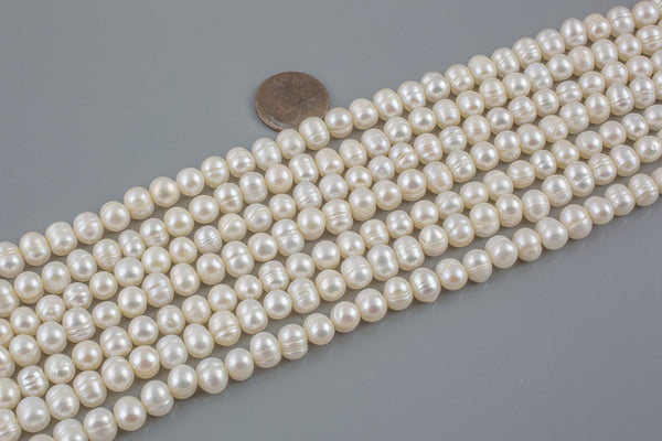 6-7mm Natural Freshwater Pearls - Off Round 1 Full Strand
