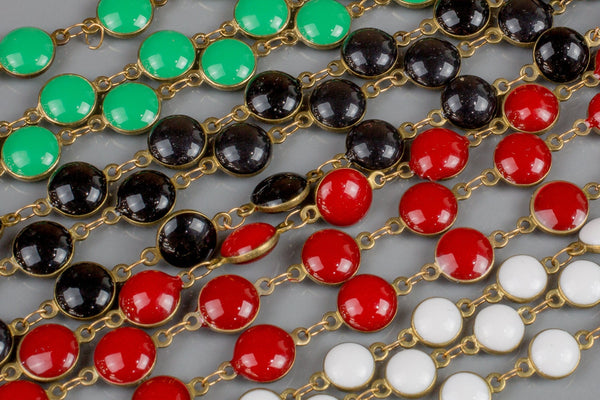 Sale!!! Puffy Coin Chain Brass in Enamel - 8 colors / 3 sizes! - By the Yard / 3 Feet