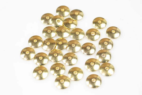 Gold Plated SOLID BRASS Saucer Roundel Beads All Sizes