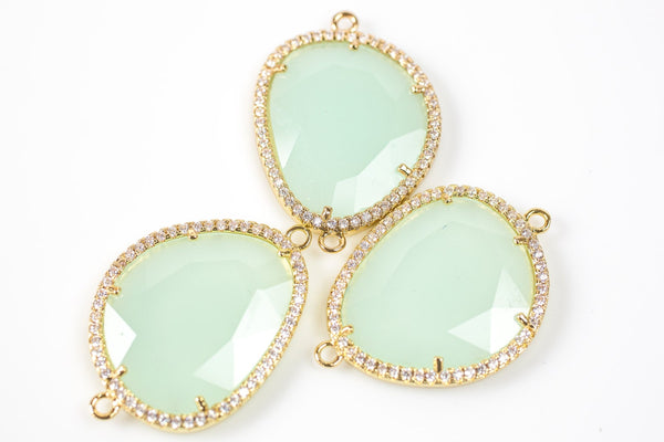 24x30mm  Irregular Gold Bean Shapped Crystal Bezzeled With CZ- Light Mint Green