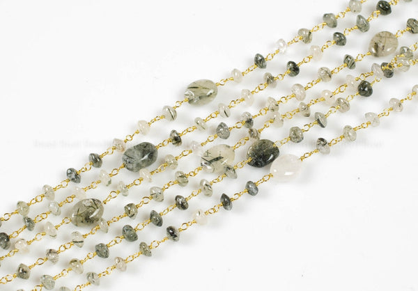 Green Rutilated Quartz Rosary Gold Chain by the Foot. 3-4mm size stone. Gold or silver wire.