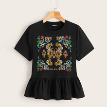 Load image into Gallery viewer, Boho Cute Black Botanical Embroidered Flounce Hem Top