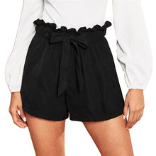 Load image into Gallery viewer, Casual Black Tie Front Ruffle Waist Paperbag Shorts