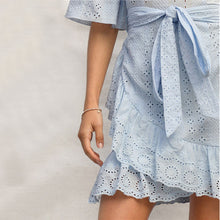 Load image into Gallery viewer, Blue Bell Sleeve Ruffle Wrap Hem Belted Schiffy Dress