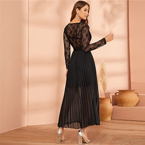 Black Lace Panel Plisse Hem Belted Pleated Sheer Dress