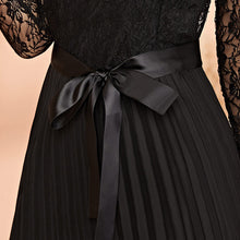 Load image into Gallery viewer, Black Lace Panel Plisse Hem Belted Pleated Sheer Dress