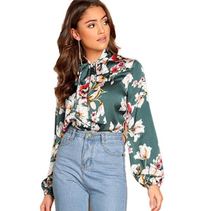 Boho Green Floral Tie Neck Top