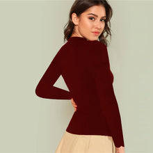 Load image into Gallery viewer, Elegant Scallop Trim Solid V Neck Long Sleeve Skinny Tee