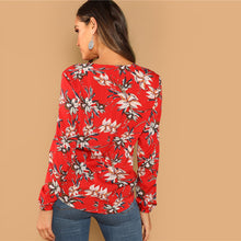 Load image into Gallery viewer, Floral Red Brunch Blouse