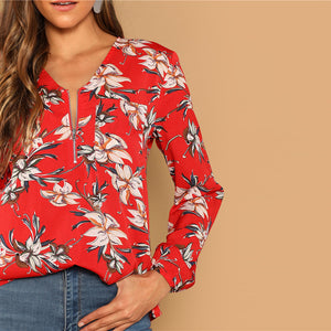 Floral Red Brunch Blouse