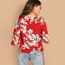 Load image into Gallery viewer, Red Bohemian Butterfly Half Sleeve Floral  Blouse Women