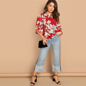 Red Bohemian Butterfly Half Sleeve Floral  Blouse Women