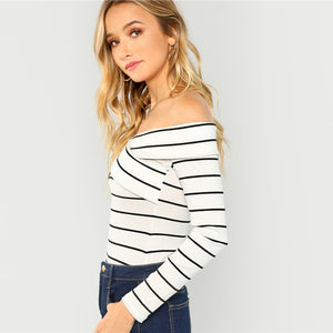 White Crisscross Striped Bardot Tee Casual