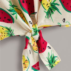 Tie Front Fruit Print T Shirt Women Clothes