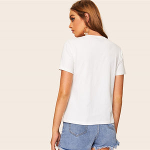 Casual White Embroidered Floral Detail Tee T Shirt