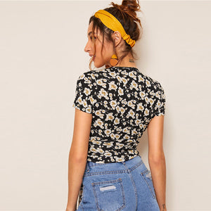 Floral Surplice Neck Tie Front Short T Shirt