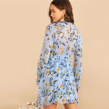 Load image into Gallery viewer, Boho Blue Botanical Print Ruffle Trim Stand Belted Dress