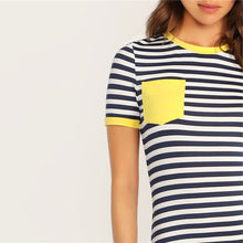 Load image into Gallery viewer, Pocket Patched Striped T-shirt Dress