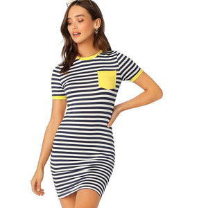 Pocket Patched Striped T-shirt Dress