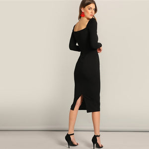 Black Surplice Neck Sweetheart Puff Sleeve Split Pencil Plain Bodycon Dress