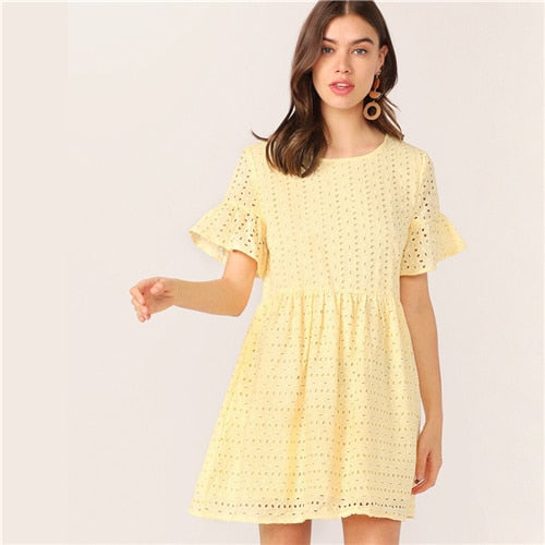 Boho Flounce Short Sleeve Solid Schiffy Straight Lace Dress
