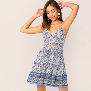 Paisley Print Cut Out Tie Back Button Slip Pleated Dress