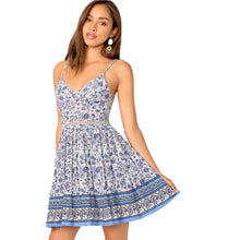 Load image into Gallery viewer, Paisley Print Cut Out Tie Back Button Slip Pleated Dress