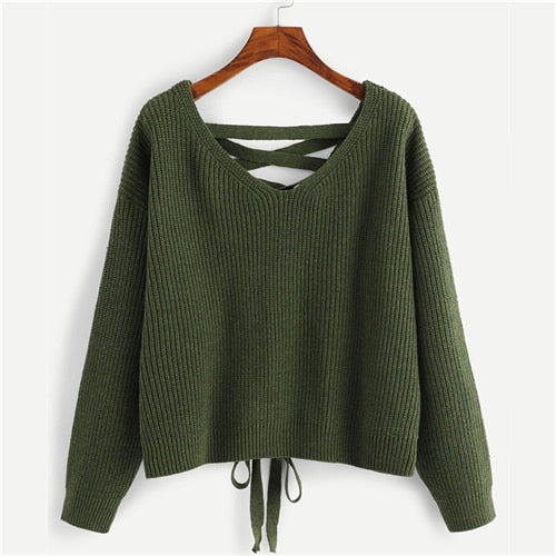 V Neck Casual Ladies Solid Sweaters